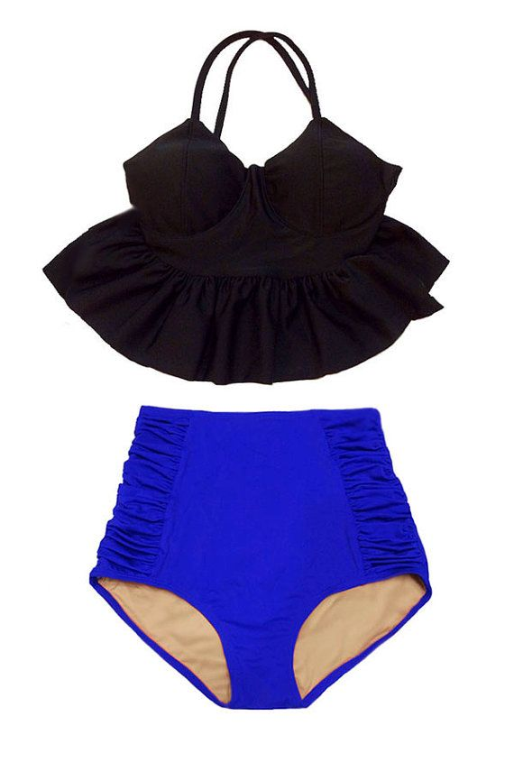Black Long Peplum Top and Blue Ruched High waisted por venderstore