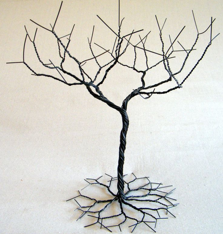 Black Jewelry tree Stand. Jewelry holder organizer  tall for necklaces and earrings  wire tree sculptue (40.00 CAD) by KunsWerk
