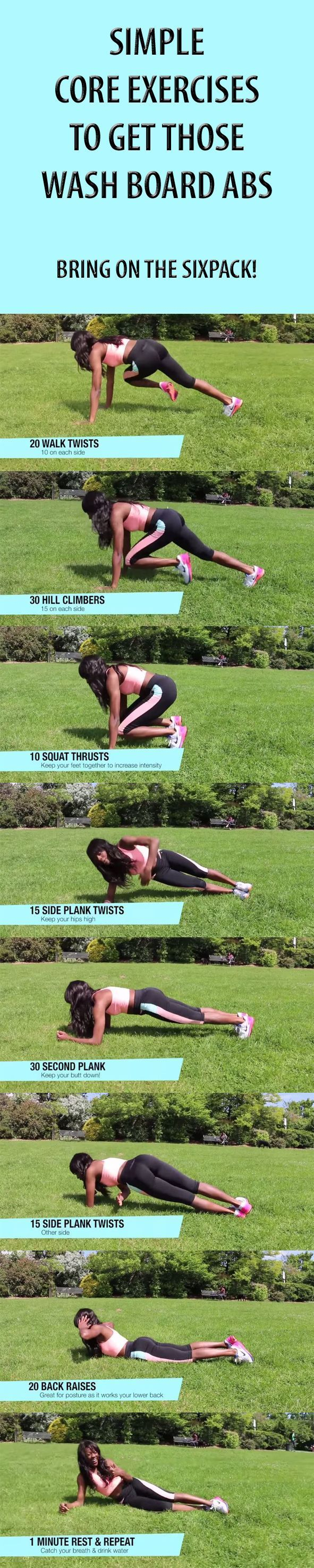 Fancy a washboard stomach that actually reveals the abs we all have? Well look no further. We have simple core exercises that will get you right on track with a quick yet effective workout. #abs #sixpack #workout #exercises #fitness #core #workouttips