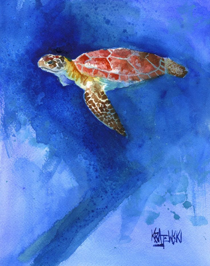 Sea Turtle Fine Art Print on 100% Cotton Watercolor Paper. About the Print: This Sea Turtle open edition art print is from an original painting by Ron Krajewski. Art print is available in 8x10 or 11x14 inches and is printed on museum quality heavy weight textured fine art paper. Quality fine art prints on quality heavy-weight 100% cotton mould-made paper, designed for fine art photography and printmaking. Print is hand signed by the artist on the front border. About the Artist: Ron…