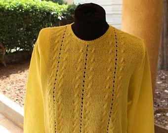Jersey de trenzas de las mujeres. Suéter de punto cable. Suéter de punto amarillo. Cable amarillo suéter. Suéter de punto elegante diseño. Encaje de punto jersey