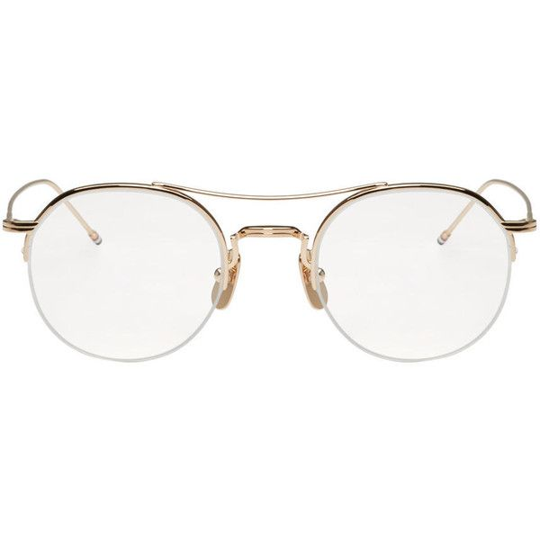 Thom Browne Gold Semi-Rimless Glasses ($605) ❤ liked on Polyvore featuring accessories, eyewear, eyeglasses, sunglasses, gold, gold eyeglasses, semi rimless glasses, semi rimless eyeglasses, colorful glasses and striped glasses