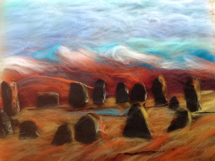 Felted painting of castlerigg stone circle lake district by debra esterhuizen