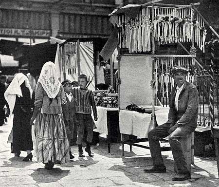Selling Easter Candles and Fireworks in Piraeus Railway Station; Maynard Owen Williams; December 1930; National Geographic Magazine.