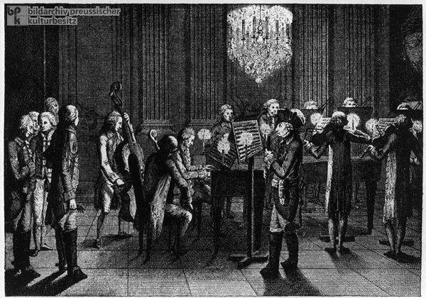 "Frederick II (""the Great"") here gives a performance at Sanssouci. Copperplate engraving by Johann Peter Haas, c. 1786. Bildarchiv Preußischer Kulturbesitz"