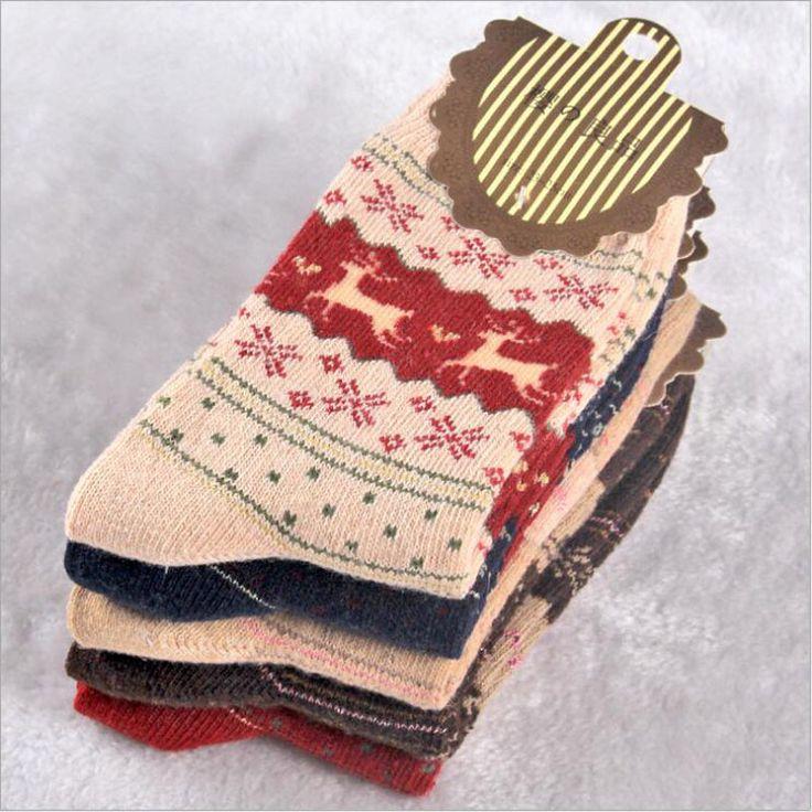 1 pairs/lot Warm winter socks women Christmas gold deer rabbit wool socks Fashion Colorful Dress Business Socks meias