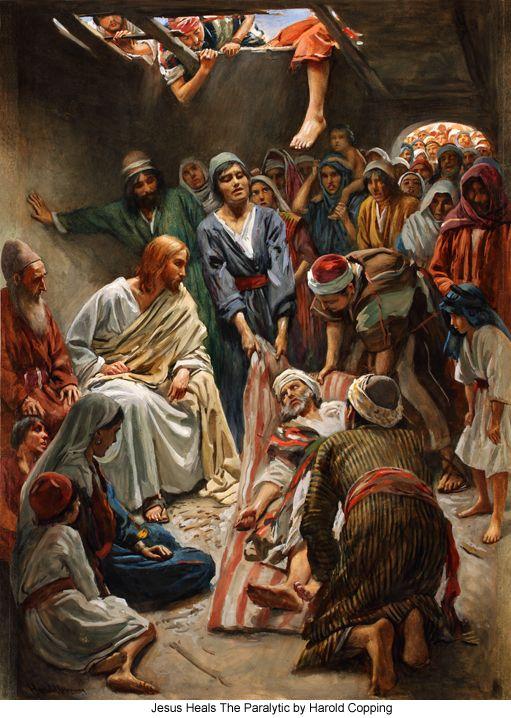 Marcos 2:3-5 Entonces vinieron a él unos trayendo un paralítico, que era cargado por cuatro. Y como no podían acercarse a él a causa de la multitud, descubrieron el techo de donde estaba, y haciendo una abertura, bajaron el lecho en que yacía el paralítico. Al ver Jesús la fe de ellos, dijo al paralítico: Hijo, tus pecados te son perdonados.