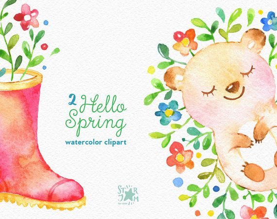 Hello Spring 2. Watercolor animals and floral от StarJamforKids