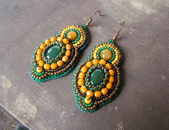 Bead embroidery Earrings Beadwork Earrings Green Yellow Copper