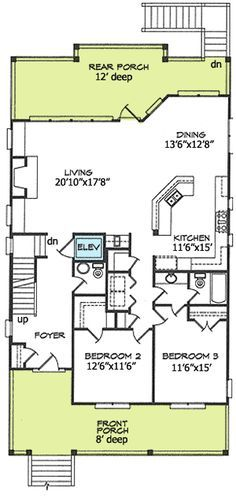 2 STORY shotgun double house plan - Google Search