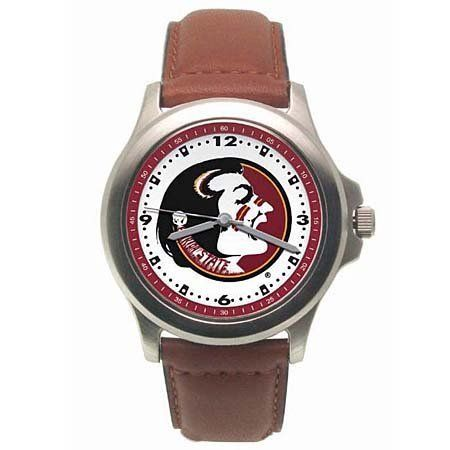 Florida State Men's Rookie Watch Logo Art. $28.99. Coordinating Colored Dial Ring. 2 Year Warranty. Water Resistant. Padded Leather Strap. Bold Logo On Dial. Save 24%!