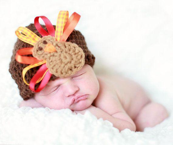 crochet and ribbon turkey hat
