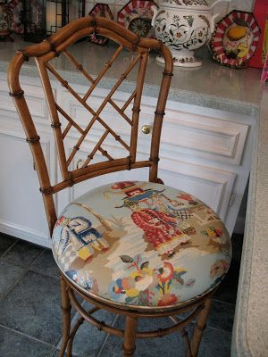 "Bamboo kitchen stools in Brunschwig & Fils ""Xian"" {Chinoiserie Chic}"