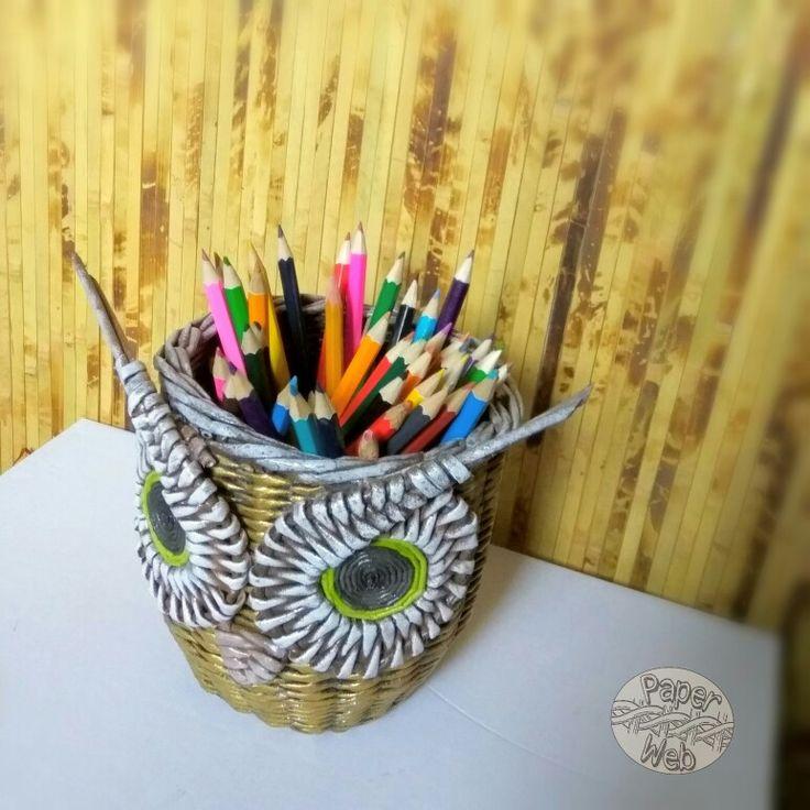 Плетеная карандашница Золотая Сова
