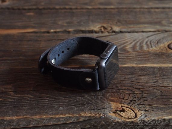 Band For Apple Watch Dark/ Noire Style - Handmade leather strap/band for Apple…