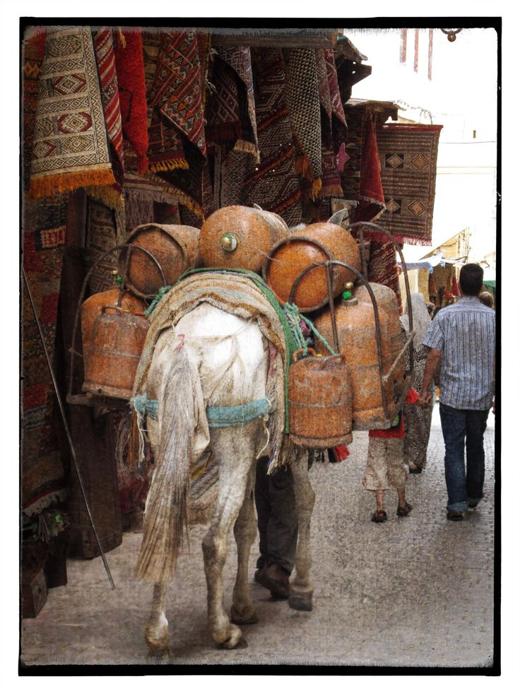 Gas delivery in the medina. Morocco.