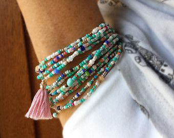 Fiesta Beaded Wrap Bracelet   87 Long Seed Bead by NonaDesigns
