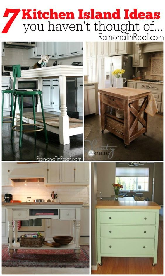 Need a kitchen island? Short on ideas? Here are 7 kitchen island ideas that you may not have thought of yet...including dressers turned islands and more! 7 Kitchen Island Ideas you haven't thought of....via RainonaTinRoof.com