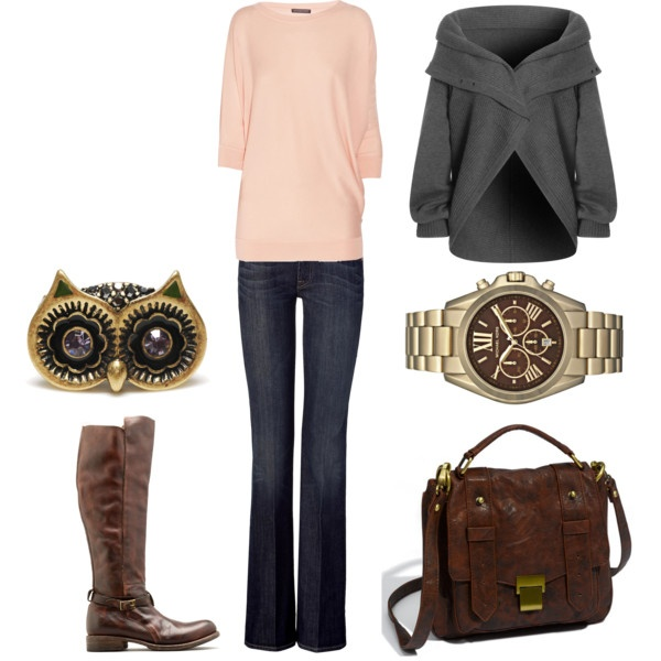"""""""Casual Owl"""" by megs6001 on Polyvore: Casual Owl, Closet Envy Fall Wint, Casual Outfit, Dreams Closet, Comfy Sweaters, Fall Casual, Casual Fall, Grey Sweaters, Owl Rings"""