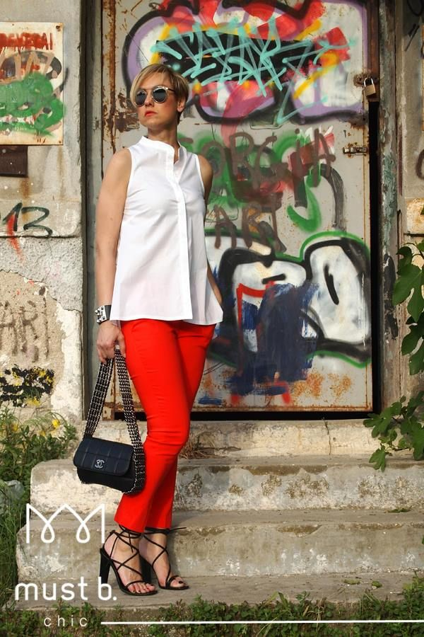 Fashionable red trousers and white top. Spring Summer 2105