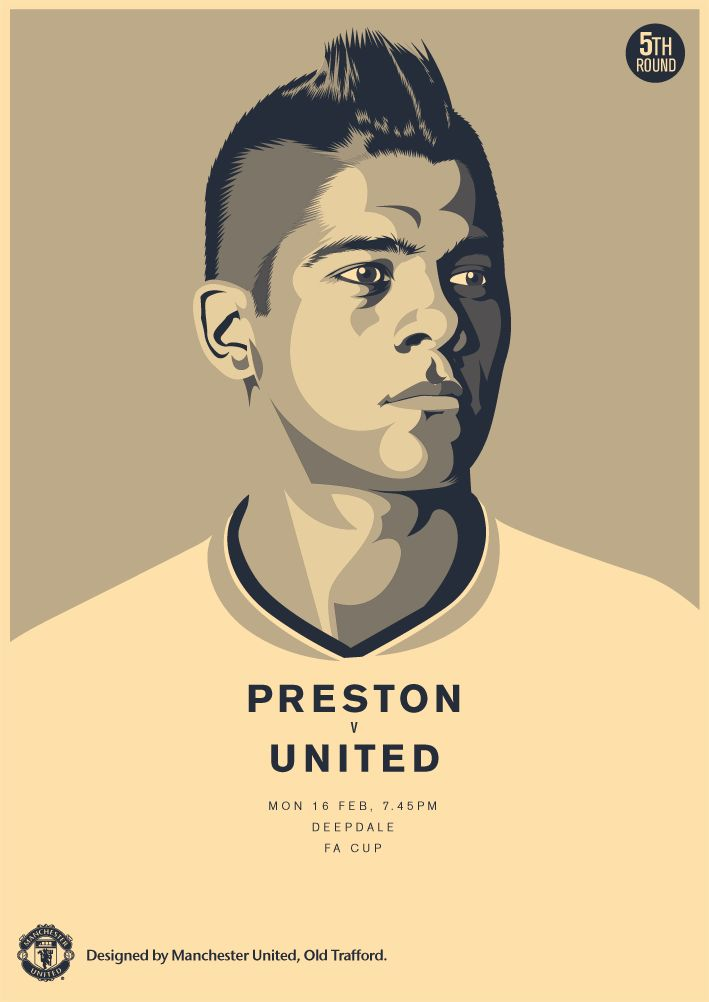 Match poster. Preston North End vs Manchester United, 16 February 2015. Designed by @manutd.