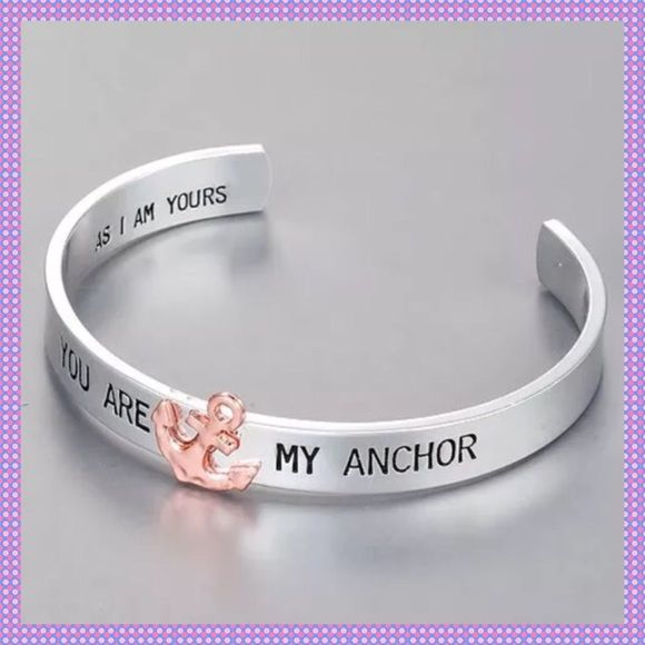 """You Are My Anchor"" Bracelet Cuff ⚓️Beautiful Silver Alloy Cuff Bracelet engraved with ""You Are My Anchor"" and has a Rose Gold Anchor attached. Inside of cuff is engraved ""As I Am Yours"". This cuff is adorable and would be a great gift for someone or for yourself. Diameter is 2.5"" Circumference is 7.85"".⚓️PRICE IS FIRM UNLESS BUNDLED⚓️ BOUTIQUE Jewelry Bracelets"