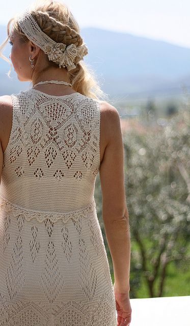Dress using Shetland lace motifs. Maybe turn it into a long pretty buttoned cardigan?