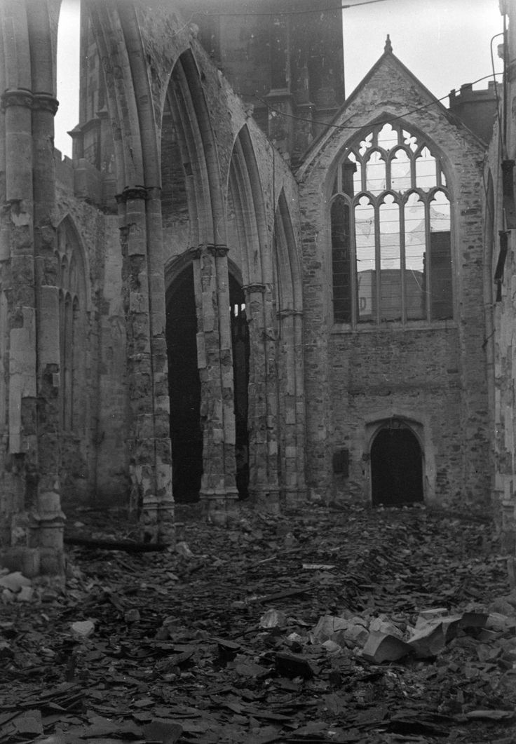 This is Coventry Cathedral on November 5 1940; the day after it was bombed. Photo: The Piper Estate