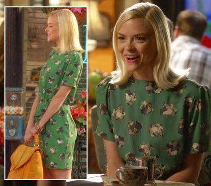 Lemon's green printed dress and yellow purse on Hart of Dixie.  Outfit details: http://wornontv.net/7355/