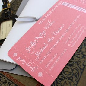 Modern Compass Boarding Pass Wedding Invitation (White Ink and Coral)