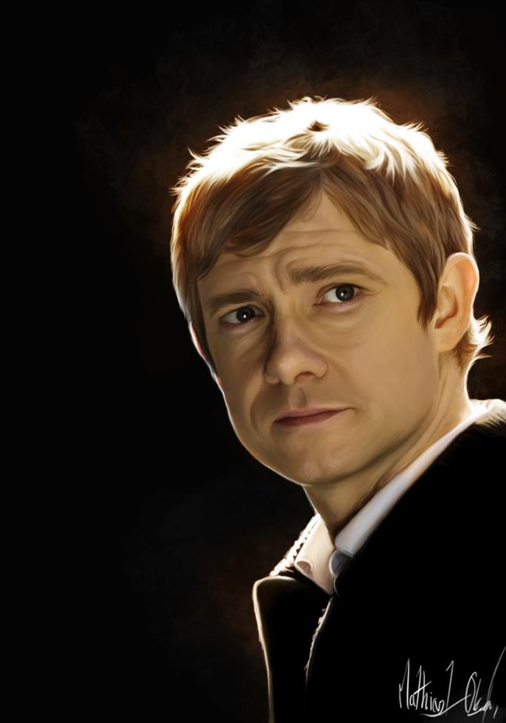 "Gorgeous illustration of Martin Freeman as ""John Watson"" from the BBC series ""Sherlock"".  —  John - Painting by *Lasse17 on deviantART"