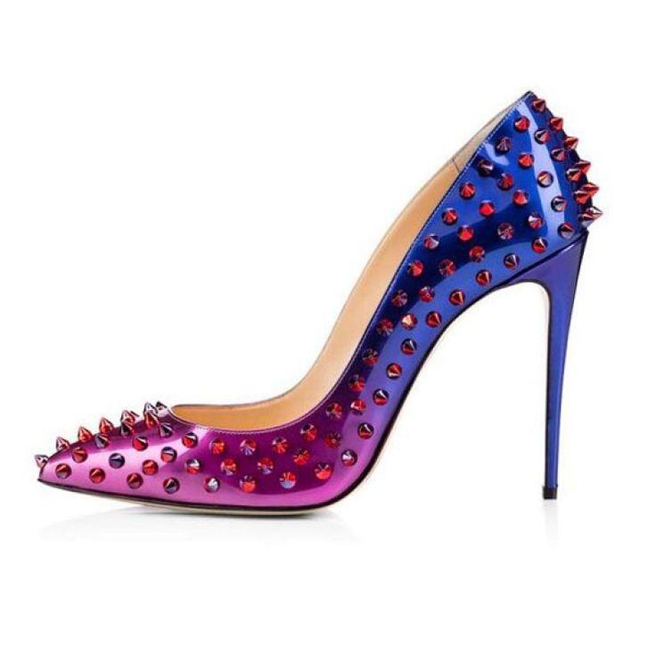 XX038 Rivet Studded Pointed Toe Stiletto Heel Women's High Heels Rose Red & Blue