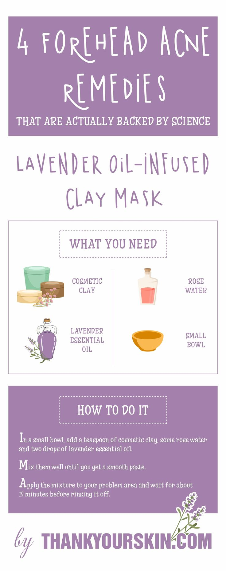 How to get rid of forehead acne fast and overnight with natural homeade remedies what work. Easy DIY recipes. #GetRidOfForeheadAcne #AcneRemedies #ThankYourSkin
