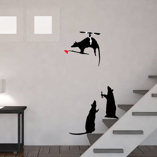 Banksy Rats Stencils. Flying Helicopter Rat Reusable Banksy Graffiti Art Replica Stencils. Ideal for Painting Decorating Walls. Size Options