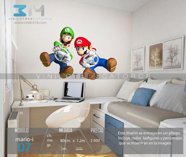 Vinilo 3 14 vinilos decorativos infantiles mario bros for Calcomanias para dormitorios