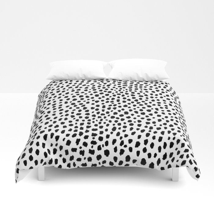 Black And White Dalmatian Spots Duvet Cover Cute And Modern