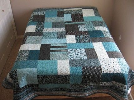 turning twenty quilt pattern | Teal and Brown Turning Twenty Queen Quilt