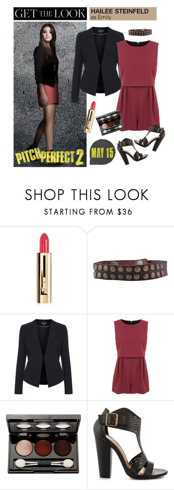 """""""Get the Look: Hailee Steinfeld in Pitch Perfect 2"""" by polyvore-editorial ❤ liked on Polyvore featuring Guerlain, HTC, Topshop, Miss Selfridge, Vincent Longo, Michael Antonio, emily, haileesteinfeld and pitchperfect2"""