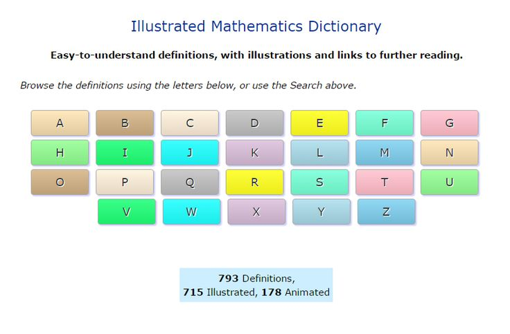 An Illustrated Mathematics Dictionary. The Math is Fun dictionary offers more than 700 definitions of mathematics terms. All of the definitions include an illustration. #ded318, #WeAreEdCats