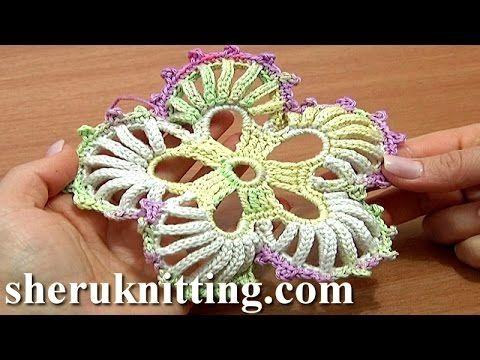 Crochet 5-Petal Flower Big Round Petals Tutorial 53 Work In Back Loops Around Post