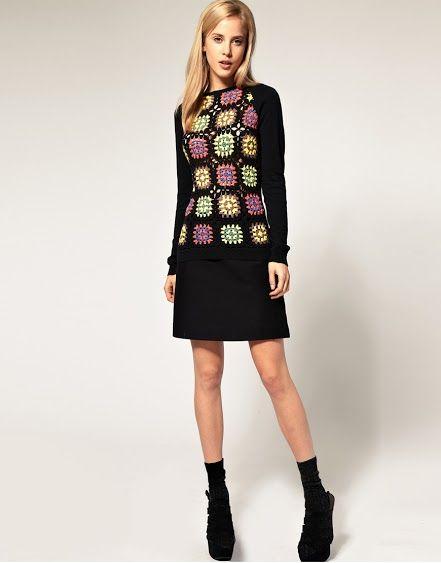 Crochet - Casaqueto Preto e Branco