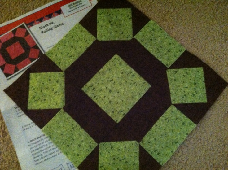 Rolling stone quilt block... April's block!