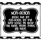 These are black and white polka dot text feature anchor charts.  That can be used to teach students about text features, then be displayed in the c...