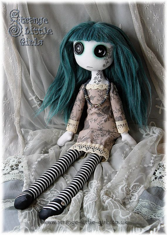 15 Inch Gothic Cloth Art Doll With Button Eyes - Octavia Teal