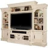 Fremont Antique, Style Burnished White Entertainment Wall, 4-Piece Set, Entertainment Centers & TV Stands,Poplar Solid, Birch Veneer, by Parker House