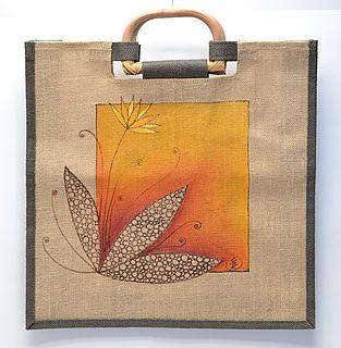 Jutová taška ručně malovaná, bublinková