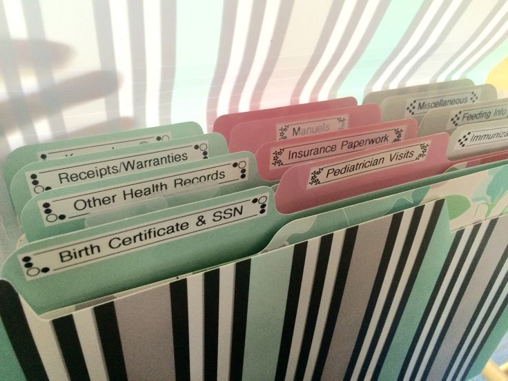 My Verizon of a Baby shower gift that helps with organization! Accordion folder with individual folders inside for portability. Folders are geared towards all the papers new parents accumulate such as Birth Certificate & SSN, pediatrician visits, immunizations, feeding info, warranties & manuals, keepsakes (cards) and more. I left a few blank so they could add labels as needed too.