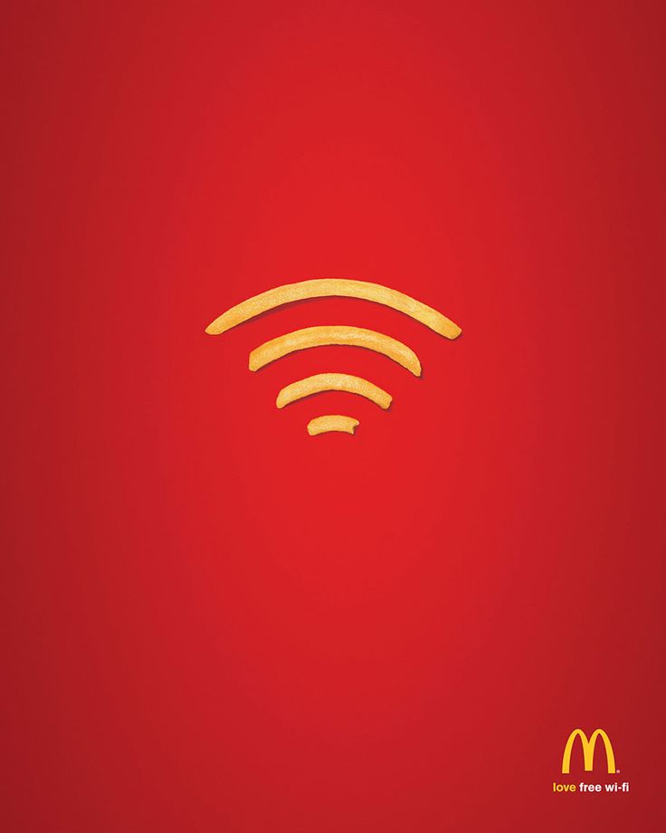 """Joshua S. Summer 2015 Section 1. """"Wi-Fries"""" by DDB Sydney. This advertisement plays upon two different visual elements to convey its point. McDonalds' french fries and the universal symbol for wi-fi. This effectively conveys the point that McDonalds offers Wi-Fi internet. http://www.boredpanda.com/creative-print-ads/?image_id=creative-print-ads-48.jpg"""