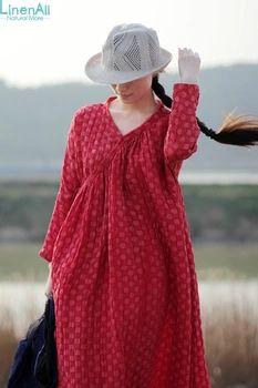 Natural Dyeing clothing women's linen and silk 100% handmade natural cochineal insect dye dot loose dress robe LinenAll YIJIU