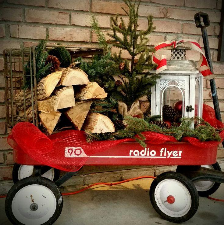 Radio Flyer Wagon Christmas decor for front porch